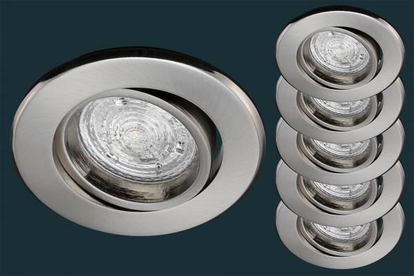5er LED Einbaustrahler Set Osram Star BASE 50, matt-chrom