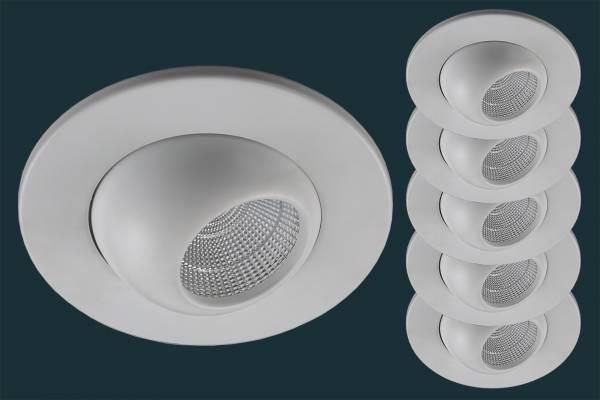 5er Set LED Einbaustrahler GLOBE flach 230V, weiß