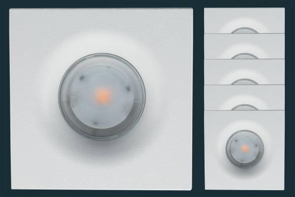 5er Set LED Einbaustrahler Osram Superstar CURVED 120, eckig, weiß