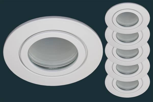 5er Set LED Einbaustrahler FLAT DIM IP44, weiß