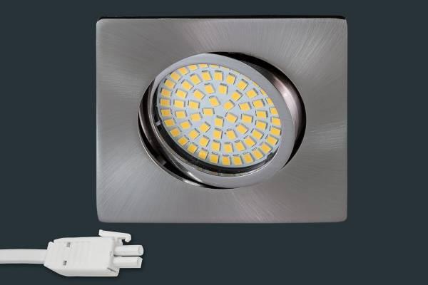 4er set ultra flach led einbaustrahler 230v eckig matt chrom leuchtenmarkt. Black Bedroom Furniture Sets. Home Design Ideas