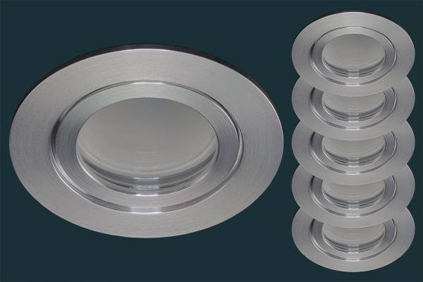 5er Set LED Einbaustrahler FLAT DIM IP44 120, aluminium