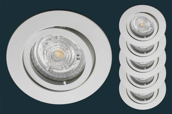 5er Set LED Einbaustrahler Osram Superstar, weiß