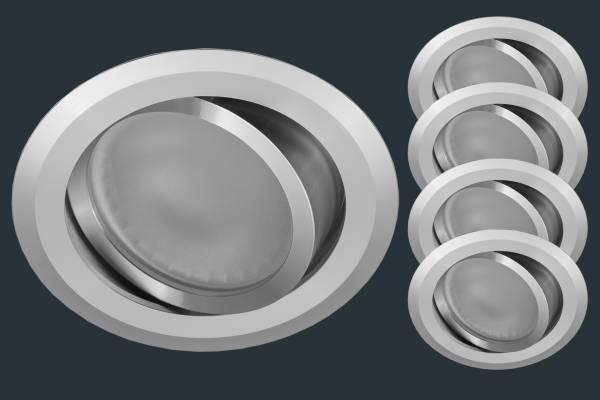 4er Set LED Einbauleuchte FLACH 12V, Aluminium