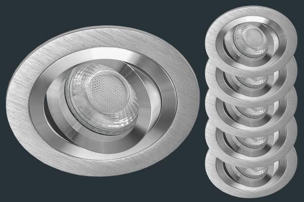 5er Set LED Einbaustrahler SOLID ALU, aluminium rund
