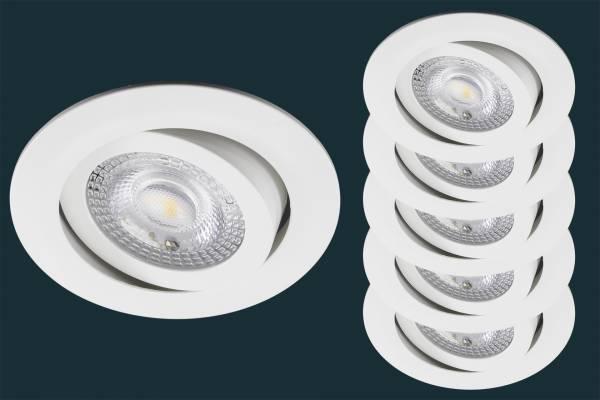 5er Set LED Einbaustrahler flach TRI DIM Click, 5W, weiß
