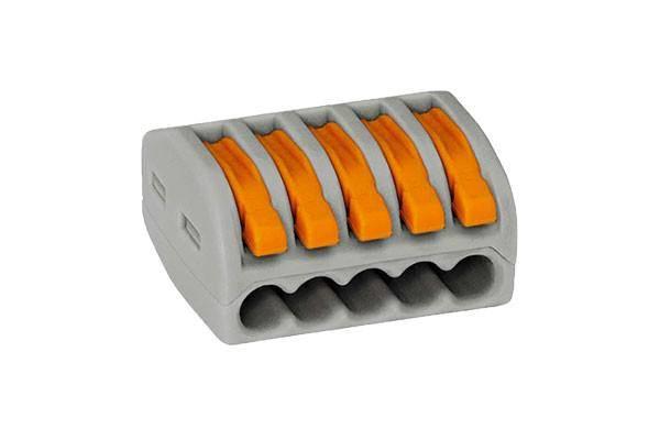 Verbindungsklemme 5 x 0,08-4 mm² Polzahl: 1, grau