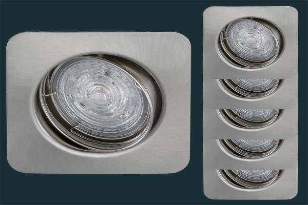 5er Set LED Einbaustrahler eckig Osram Star BASE 50 RECT, matt-chrom