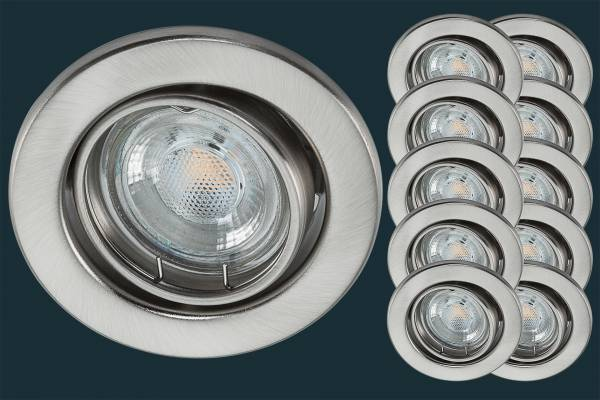 10er Set LED Einbaustrahler 5 Watt, matt chrom