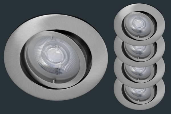4er Set LED Einbaustrahler Osram 3-STEP-DIM, rund