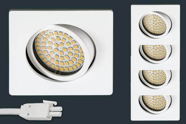 4er Set Ultra Flach LED Einbaustrahler 230V, eckig, weiß