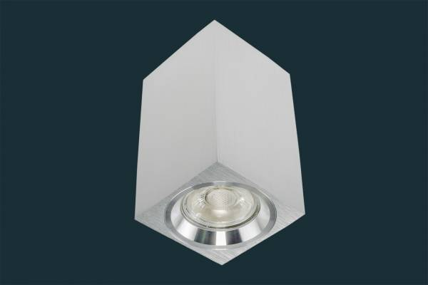 LED Aufbaustrahler 5W GU10 230 Volt, eckig, aluminium