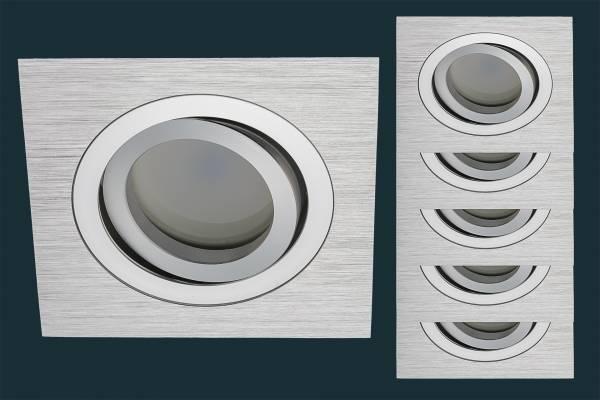 5er LED Einbaustrahler Set Solid Alu, FLAT DIM 120, eckig
