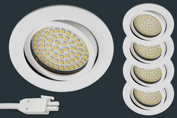 4er Set Ultra Flach LED Einbaustrahler 230V, rund, weiß