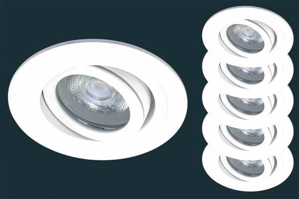 5er Set LED Einbaustrahler SOLID ALU ADV IP44, schwenkbar, weiß