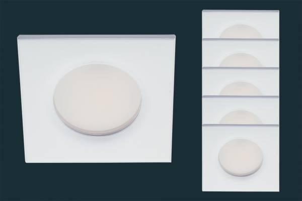 5er Set LED Einbaustrahler FLOOD IP44, eckig, weiß