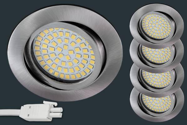 4er Set Ultra Flach LED Einbaustrahler 230V, rund, matt chrom