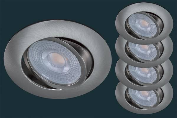 4er LED Einbaustrahler Set STEP DIM, matt-chrom