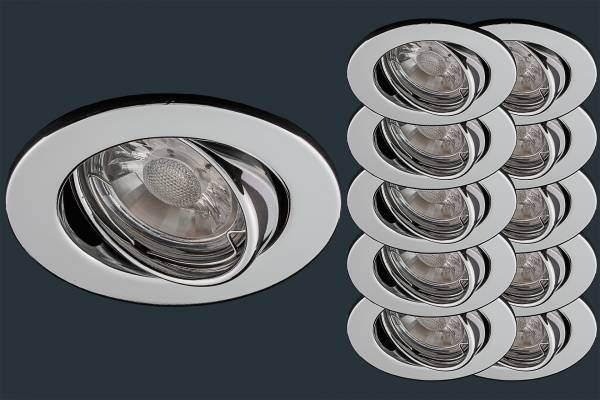 10er Set LED Einbaustrahler 5 Watt, chrom