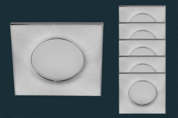 5er Set LED Einbaustrahler FLOOD IP44, eckig, matt-chrom