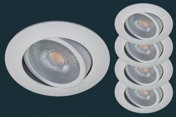 4er LED Einbaustrahler Set STEP DIM, weiß