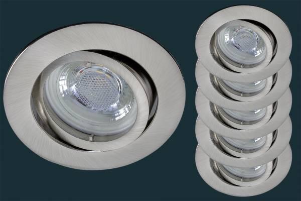 5er Set LED Einbaustrahler flach FLAT DIM 38, matt-chrom