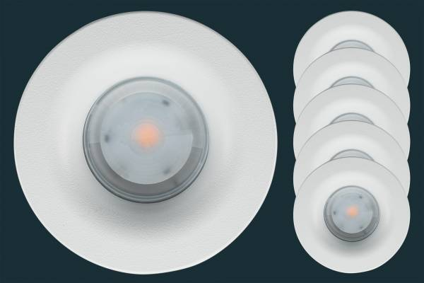 5er Set LED Einbaustrahler Osram Superstar CURVED 120, rund, weiß