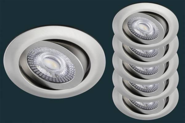 5er Set LED Einbaustrahler flach TRI DIM Click, 5W, matt-chrom