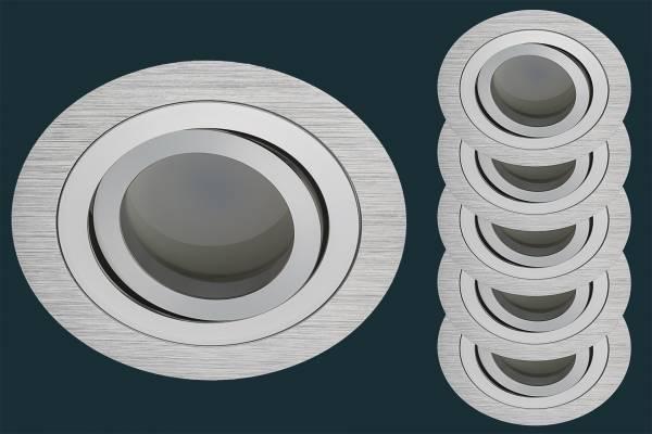5er LED Einbaustrahler Set Solid Alu, FLAT DIM 120, rund