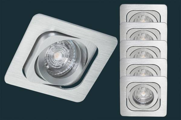 5er Set LED Einbaustrahler GIMBAL - kardanisch, alu, eckig
