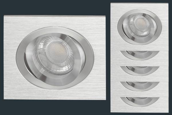 5er Set LED Einbaustrahler SOLID ALU, aluminium eckig