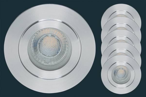 5er Set LED Einbaustrahler FLAT DIM IP44 38, aluminium