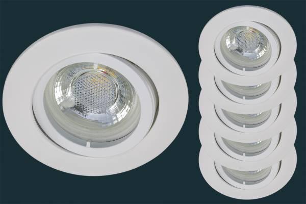 5er Set LED Einbaustrahler flach FLAT DIM 38, weiß