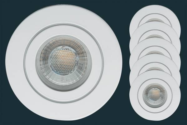 5er Set LED Einbaustrahler FLAT DIM IP44 38, weiß