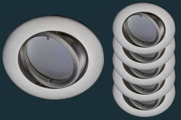5er Set LED Einbaustrahler flach FLAT DIM 230V, rund, matt-chrom