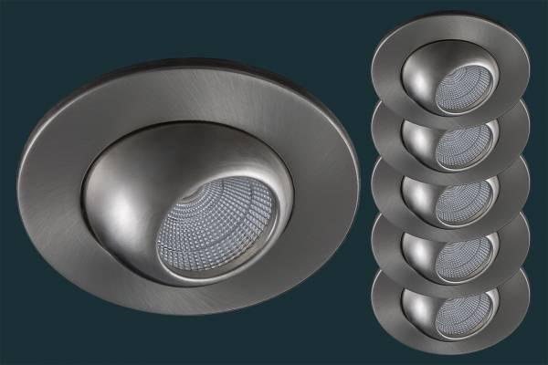5er Set LED Einbaustrahler GLOBE flach 230V, matt-chrom
