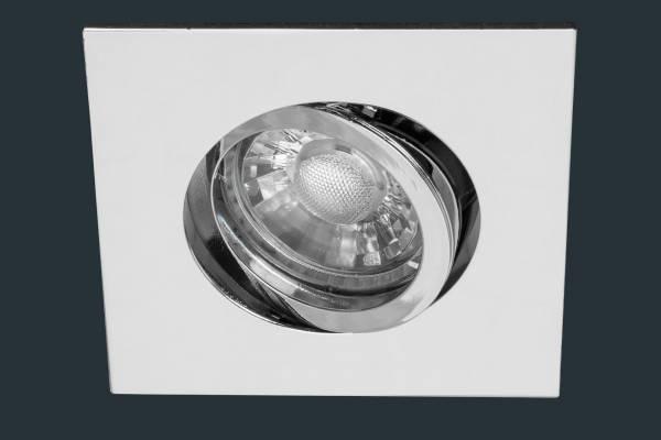 LED COB Einbaustrahler, bajo eckig, blank chrom