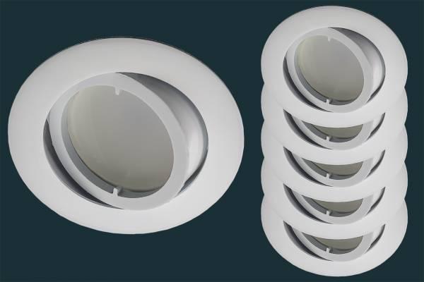 5er Set LED Einbaustrahler flach FLAT DIM 120, weiß