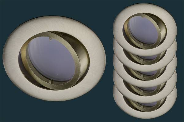 5er Set LED Einbaustrahler flach FLAT DIM 120, matt gold / messing