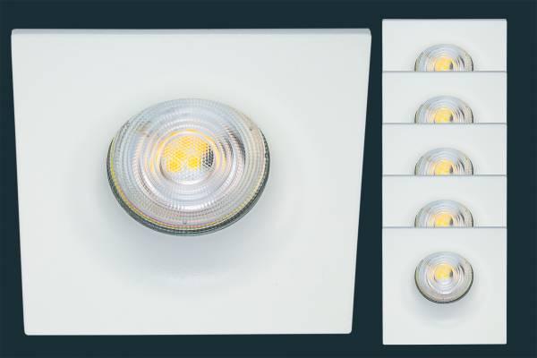5er Set LED Einbaustrahler Osram Superstar CURVED, eckig, weiß