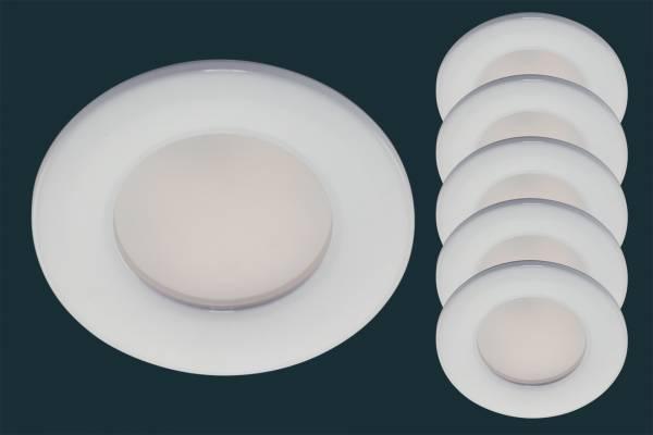 5er Set LED Einbaustrahler FLOOD IP44, rund, weiß
