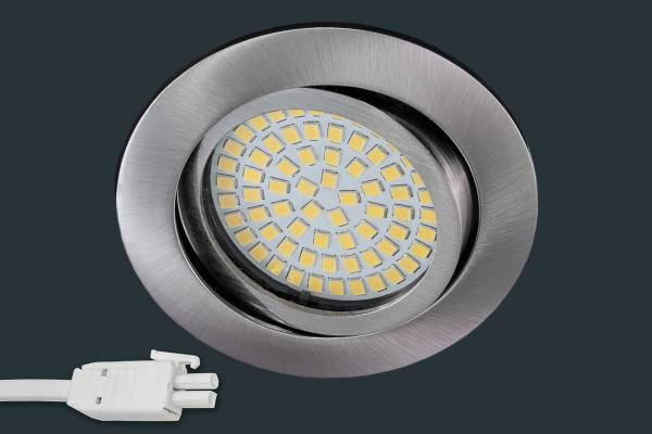 Ultra Flach LED Einbaustrahler 230V, rund, matt chrom