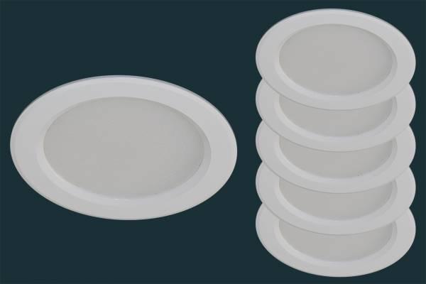 5er Set LED Einbauleuchte SPLASH, 3 Watt, Downlight, weiß