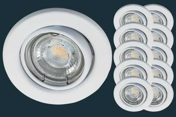 10er Set LED Einbaustrahler 5 Watt, weiß